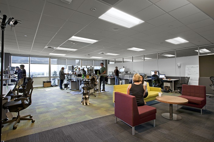 A team work room in CenturyLink's new Cloud Development Center in Bellevue, Wash.