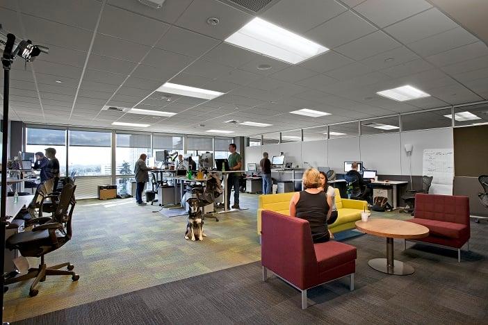 A team work room in CenturyLink's new Cloud Development Center in Bellevue, Wash.
