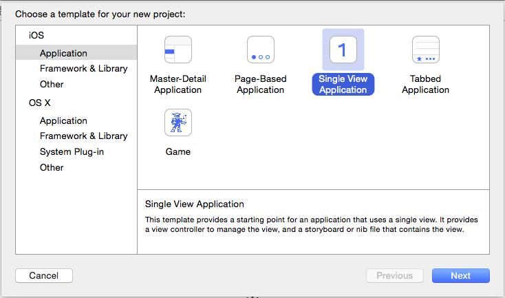 Xcode Select screen