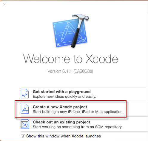 Xcode Front Screen