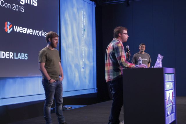 From left to right: Jeff Lindsay, Glider Labs; Luke Marsden, ClusterHQ; Alexis Richardson, Weaveworks