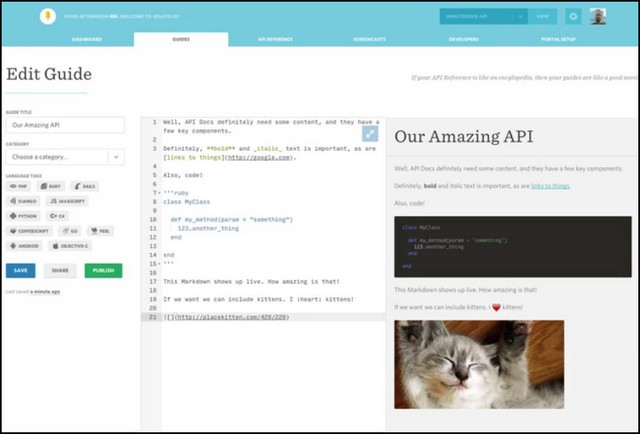 Screenshot of Gelato API Markdown Editor