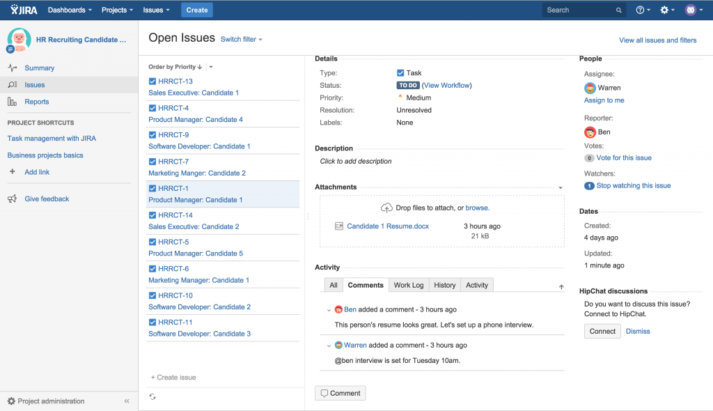 Pictured: JIRA Core setup for HR teams.