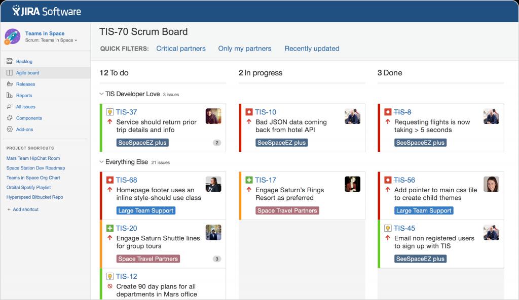 Pictured: JIRA Software - Agile board