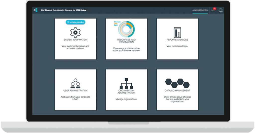 IBM Bluemix Local administrative console