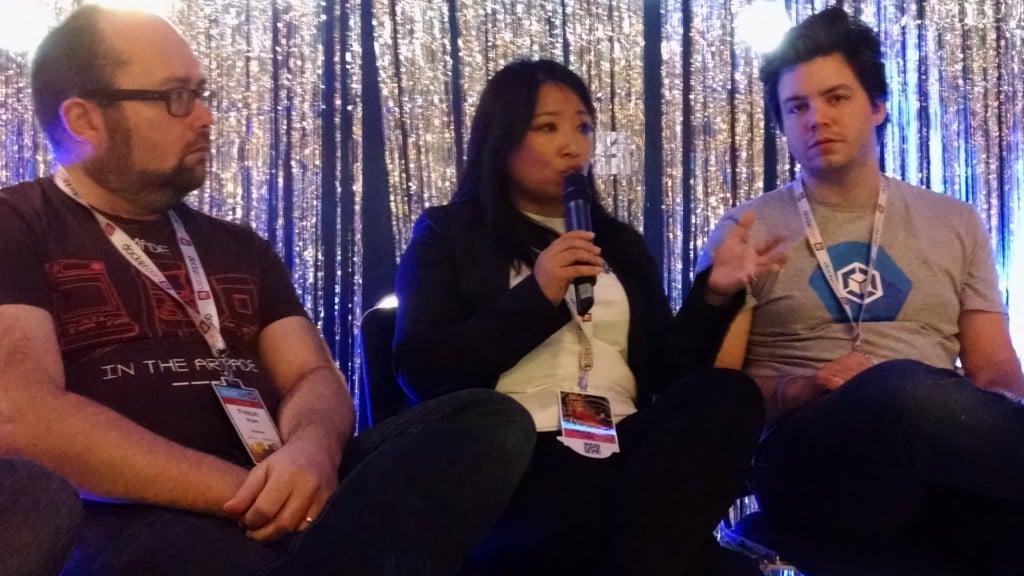 Left to right: Fintan Ryan, RedMonk; Chenxi Wang, Twistlock Kit Merker, Google.