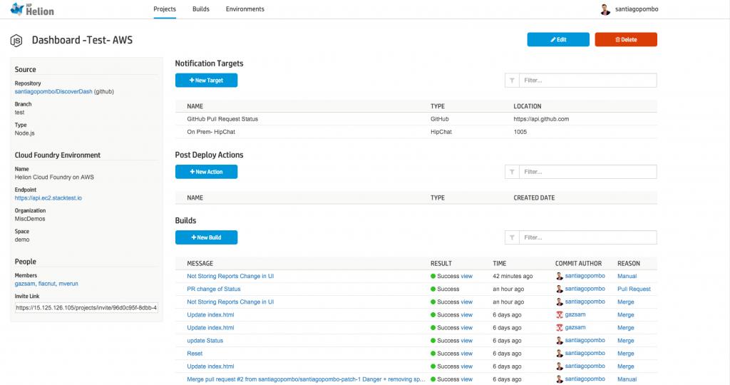 Pictured: HP Helion Public Cloud Server Demo Project.