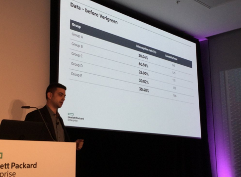 Pictured: Eitan Schichmanter at HPE Discover 2015 discussing team productivity before/after Verigreen. Photo by Gene Kim.