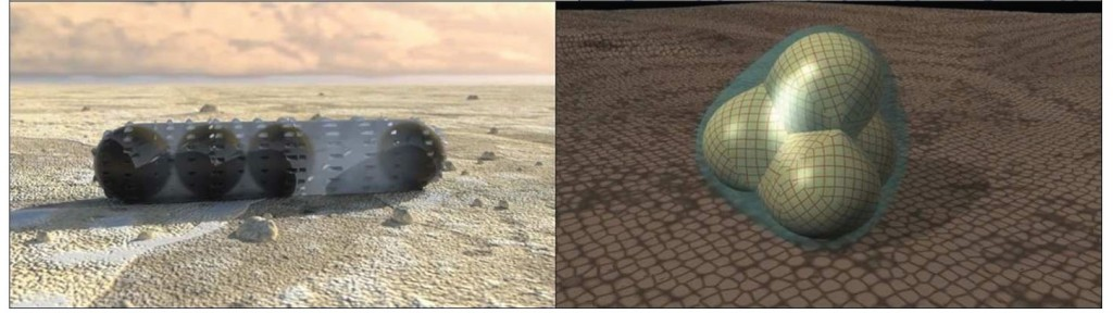 Left: Electromagnetic Sphere Robot. Right: Polymer Cell Robot.