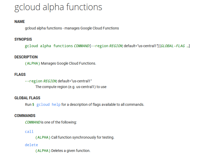 Google Cloud Alpha Functions