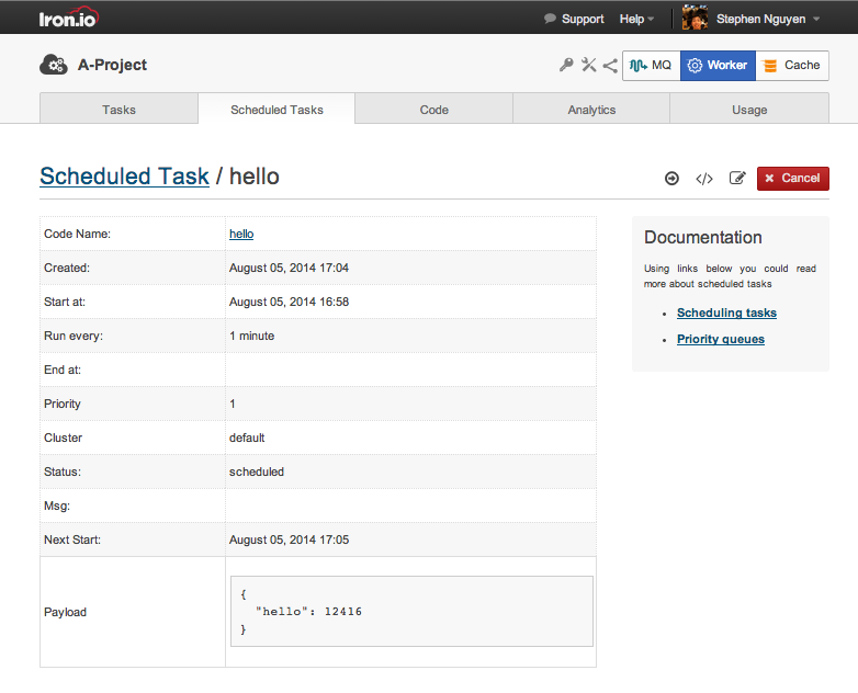 Task Scheduler in Iron.io