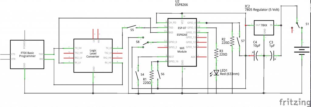 ESP8266-07 2-Way Comms Schematic