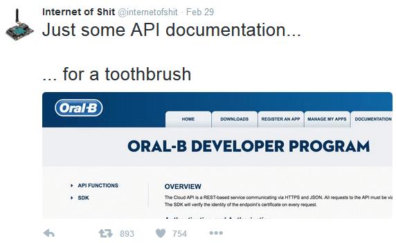 InternetOfSht mocks Oral-B toothbrush API