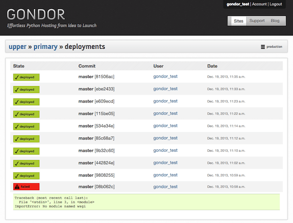 Gondor: Primary Deployments, Original Dashboard