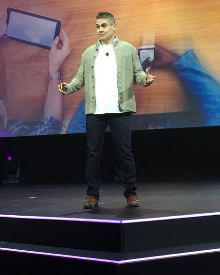 Angel Diaz speaking at the IBM Interconnect conference in February.