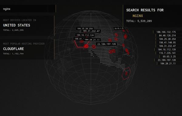 A 3D Shodan search interface.