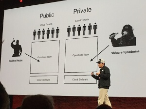 Boris Renski, CEO at Mirantis, describing the differences between public and private cloud structures at the OpenStack Summit Keynote