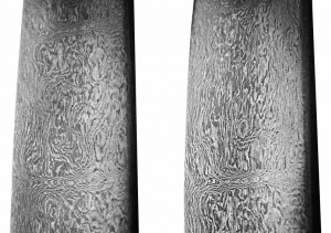 "Damascus steel sword-blade (1750-1794), from ""Arms and Armor from Iran,"" by Rahil Alipour, Ata Abadi, Moshtagh Khorasani."