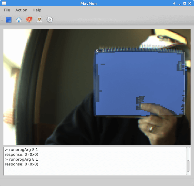 PixyMon Main Screen Detecting My Blue Spiral Notebook