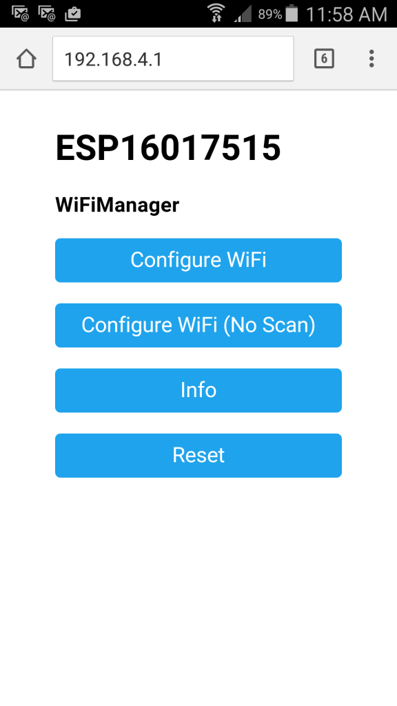 ESP8266 WiFi configuration Web page on my Galaxy 5 Active super-phone.