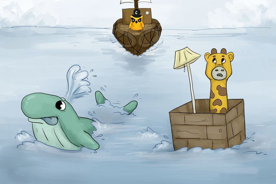 A whale shrugs in the Children's Illustrated Guide to Kubernetes