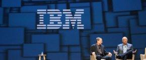 VMware CEO Pat Gelsinger and IBM Cloud SVP Robert LeBlanc, during the Day 1 keynotes at VMworld 2016.