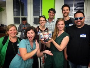 Pam Conrad, Lindsay Shaw, Erin Kumar, Peter Miron, Simone Giertz, Justin Brinkmeyer, Chris Casper with the winning bot, PBR