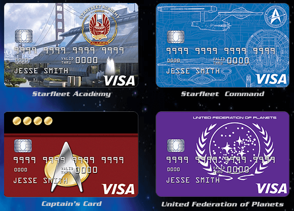 Star Trek credit cards (with star background)