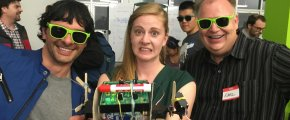 "Simone Giertz holding ""Rolling Twitch"", Earl Ruby and Aleksey Tkachenko's not quite award-winning entry for Simone Giertz's Awesome Bad Robot Build, hosted by Ericsson in San Francisco, 2016-08-15"