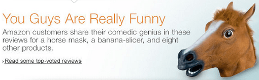 Amazon's front page recognizes funny reviews
