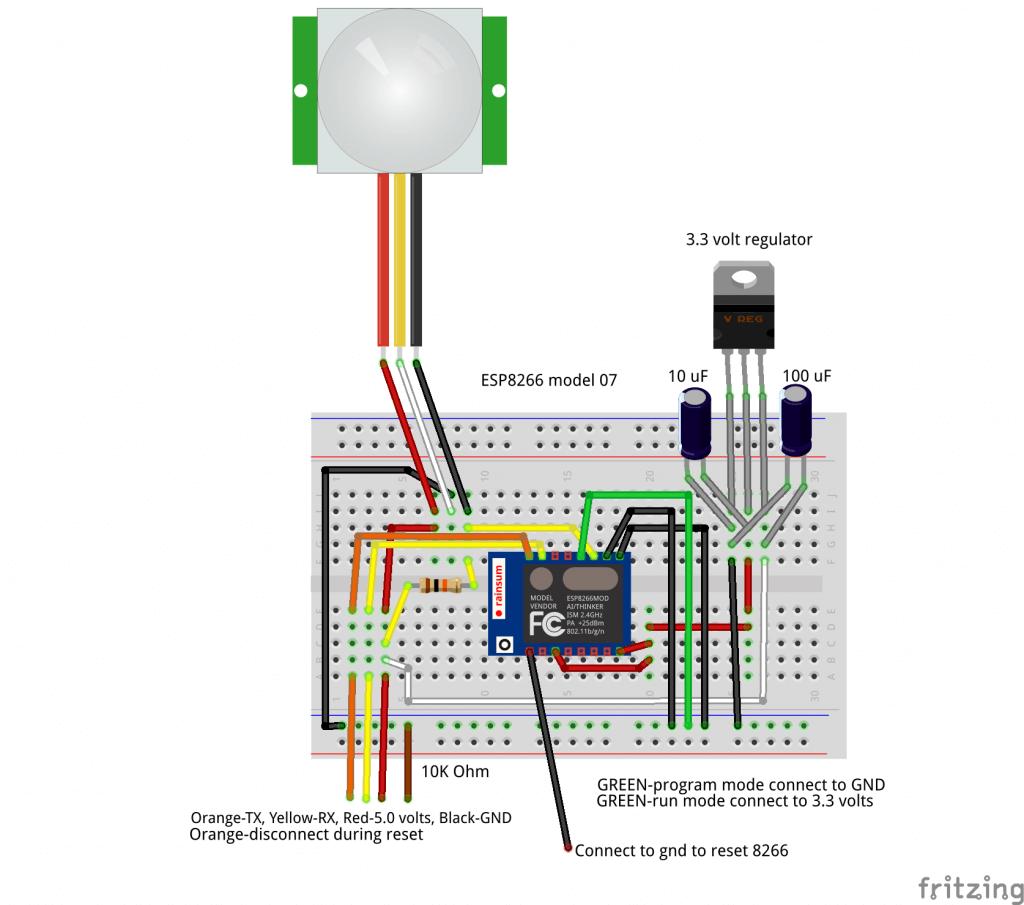 ESP8266-PIR Breadboard