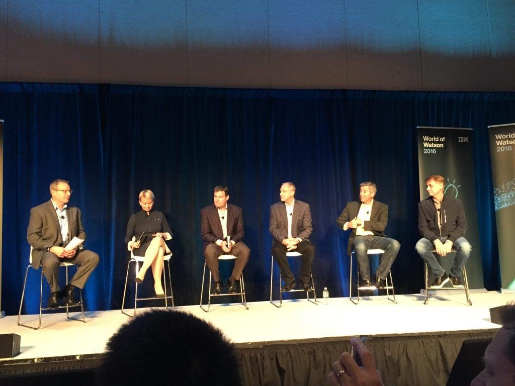 Steve Gold, Harriet Green, Cory Wiegert, Don Boulia, Bob Picciano and David Kenny, the Watson brain trust, at a WOW press event