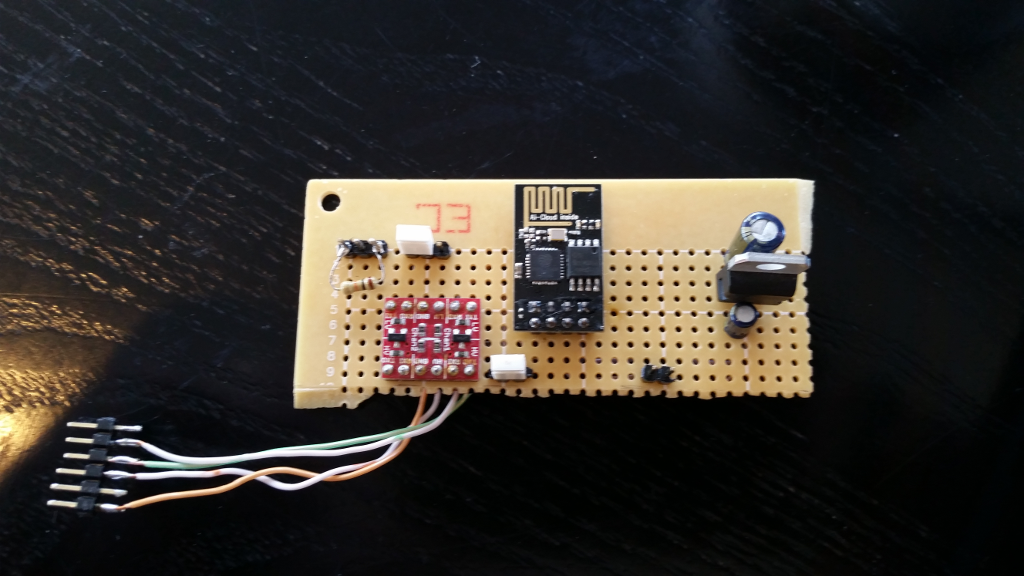 Front of traditional point-to-point breadboard, with components