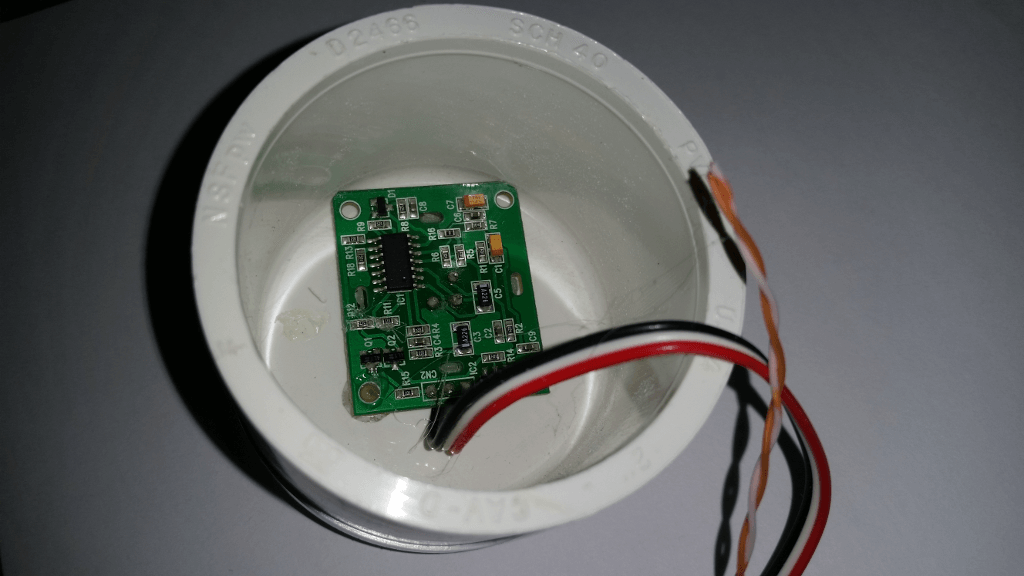 PIR Sensor Inside The PVC End Cap Housing