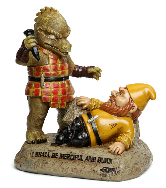 Captain Kirk and Gorn lawn gnome
